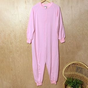Vintage Pink Onesie Zip Cotton Adult Pajamas
